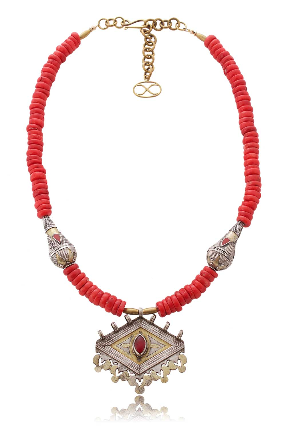 Moroccan Coral with Antique Kazakhstan beads and Turkoman Pendant by SHIKHAZURI