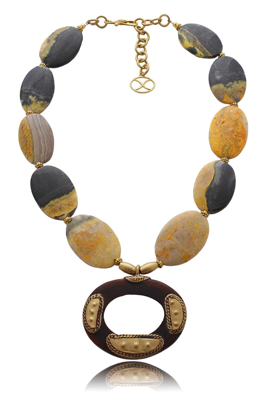 Bumbleebee Jasper African tribal pendant necklace by SHIKHAZURI