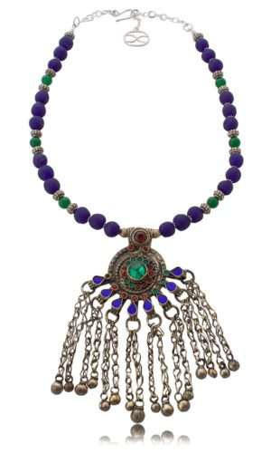Kuchi tribal peacock pendant statement necklace by SHIKHAZURI