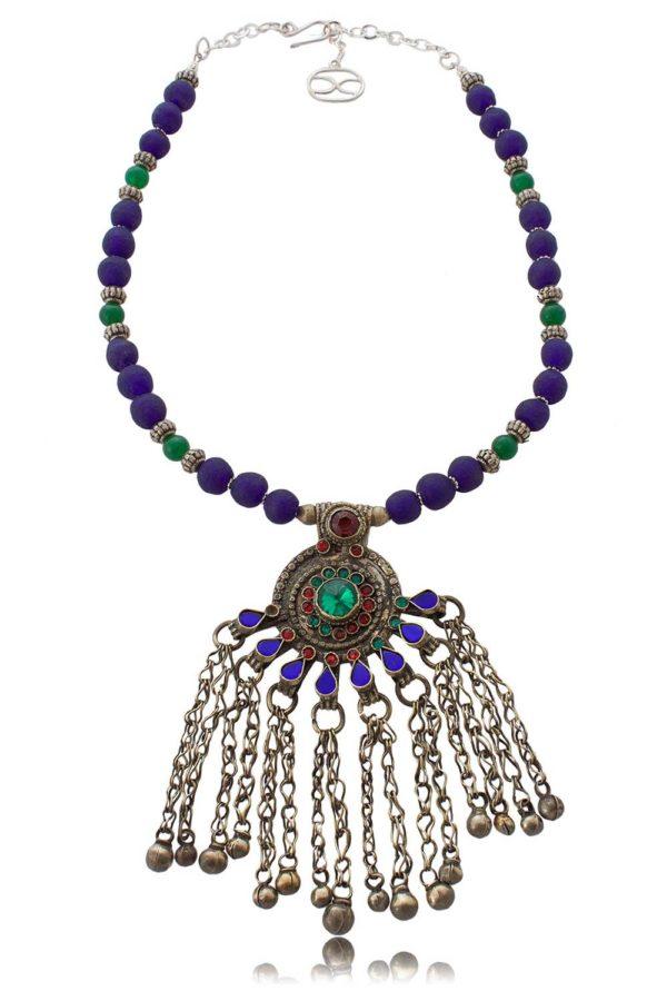 Kuchi tribal peacock pendant statement necklace by SHIKHAZURI