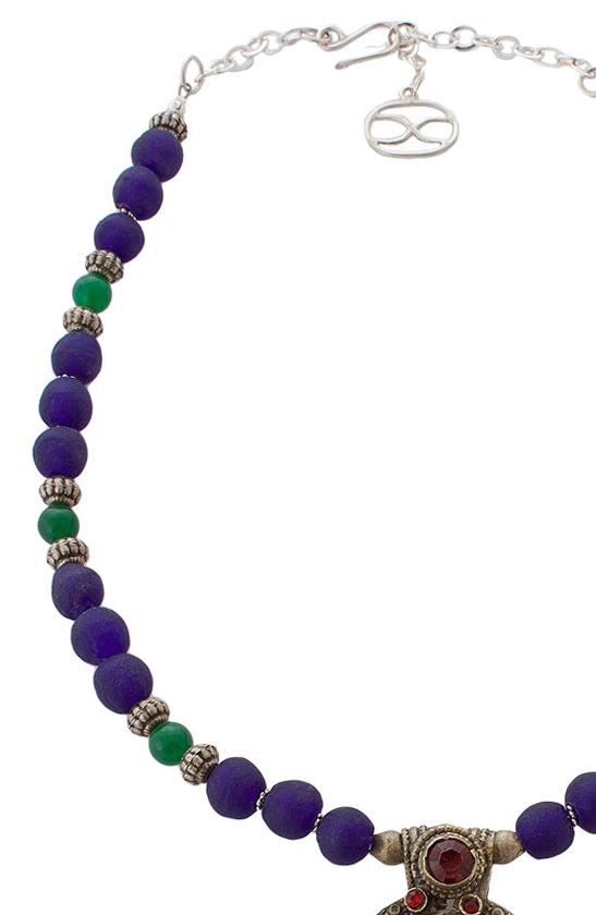 Peacock colour Ghana glass and green Jade beads by SHIKHAZURI