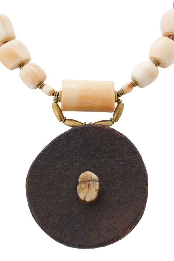 African Tribal Lip Plate Necklace by SHIKHAZURI