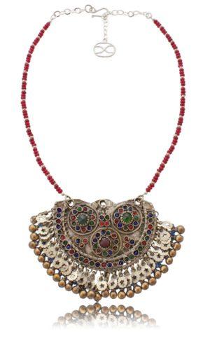 Red Jade Ethiopian Silver Tribal Kuchi Pendant Necklace SHIKHAZURI