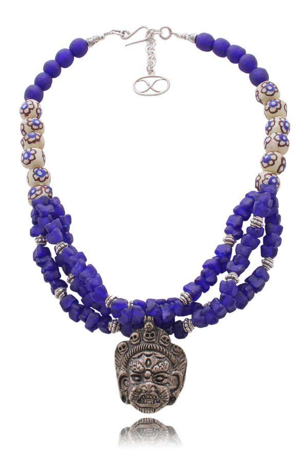 Tibetan Buddhist Amulet Necklace with Ghana glass by SHIKHAZURI