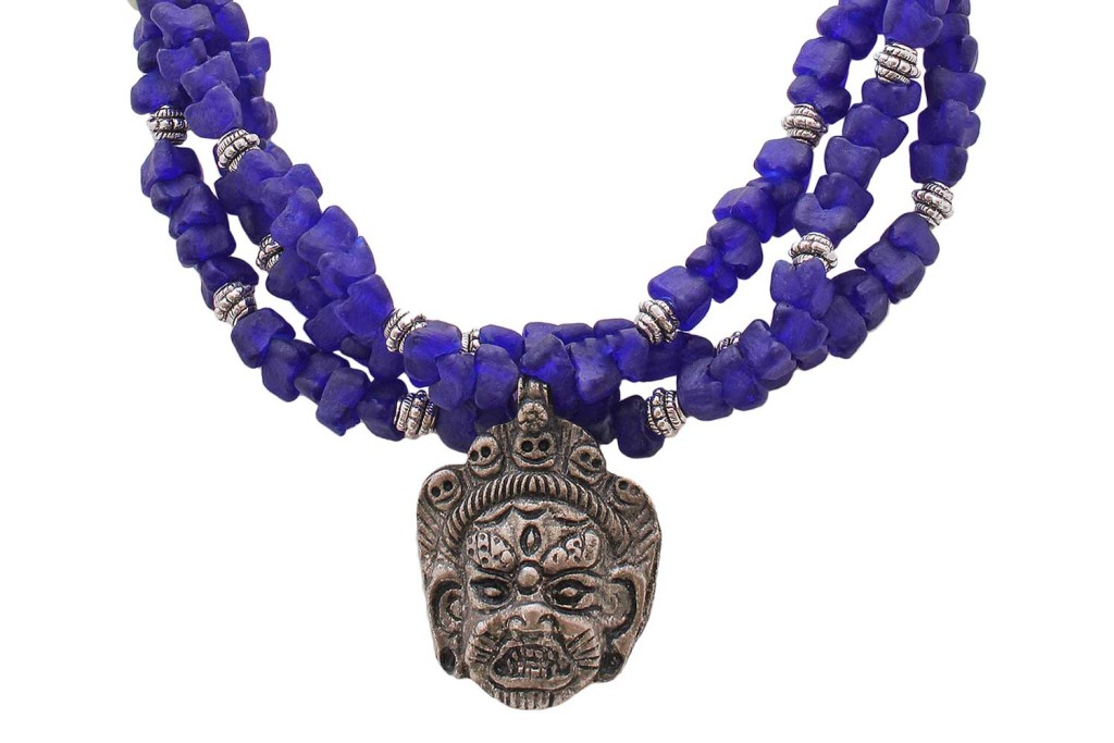Tibetan Amulet with West African Beads Necklace by SHIKHAZURI