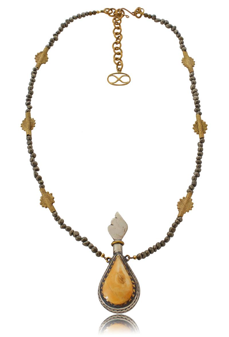 Pyrite bead Eurgain Necklace by SHIKHAZURI