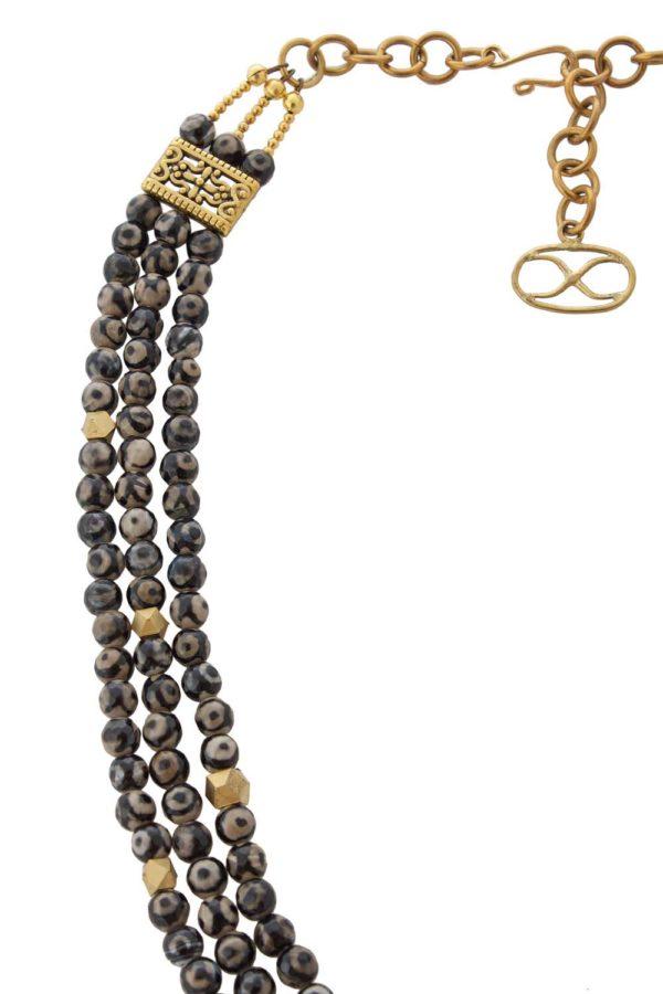 Multi Strand Necklace Eye Agate Necklace by SHIKHAZURI