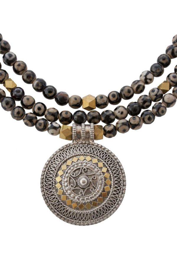 Statement Omani Pendant Necklace with Eye Agate by SHIKHAZURI