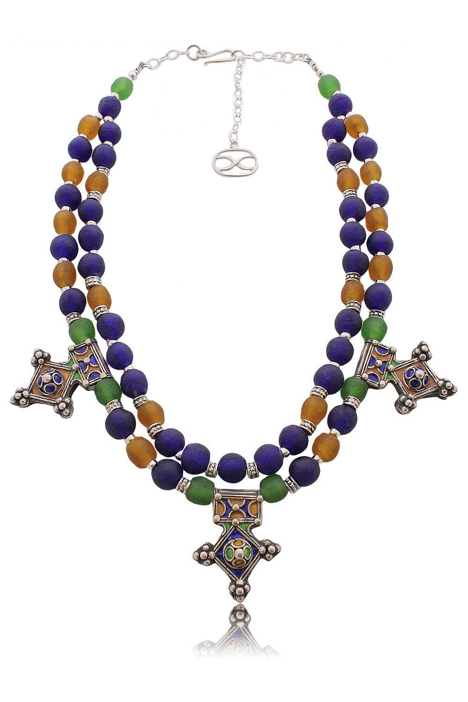 Berber Enamel Cross Pendants Necklace by SHIKHAZURI