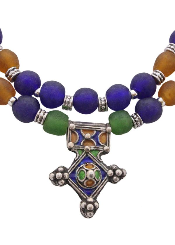Moroccan Enamel Cross Pendants from SHIKHAZURI