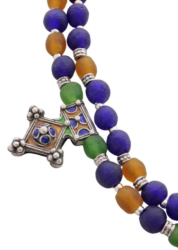 Enamel Cross Pendants Ghana Glass Beads Necklace by SHIKHAZURI