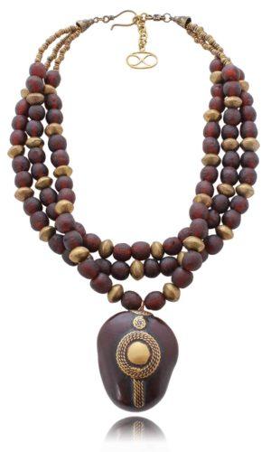Recycled Glass Bead Necklace by SHIKHAZURI