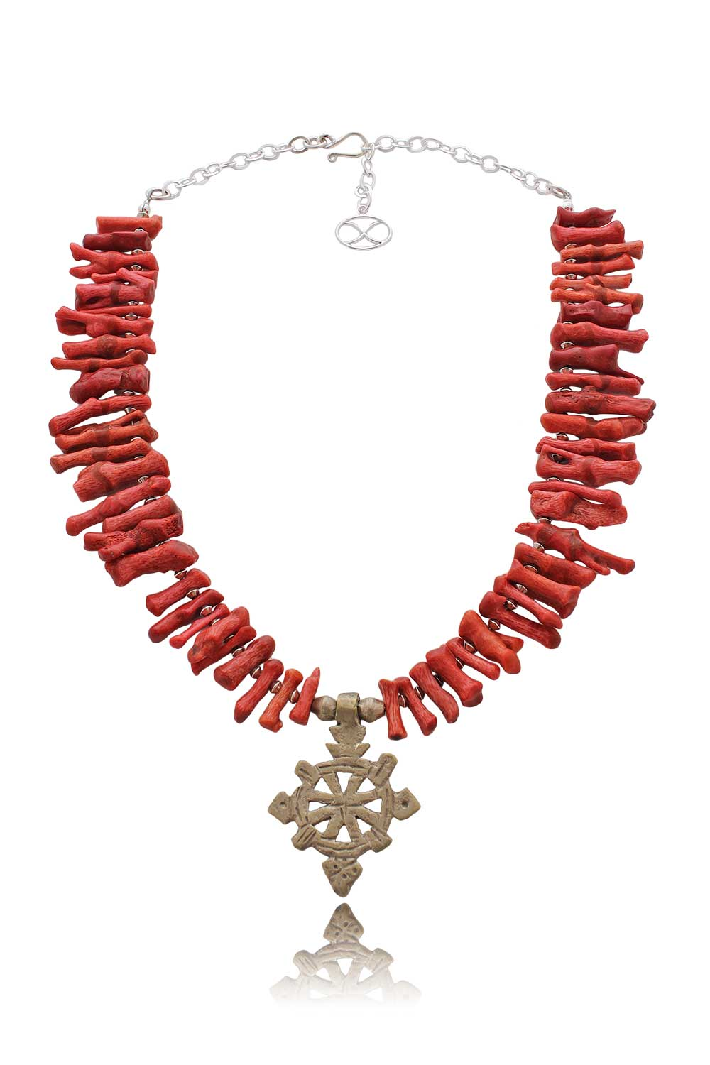 Branch Coral with Ethiopian Cross Necklace by SHIKHAZURI