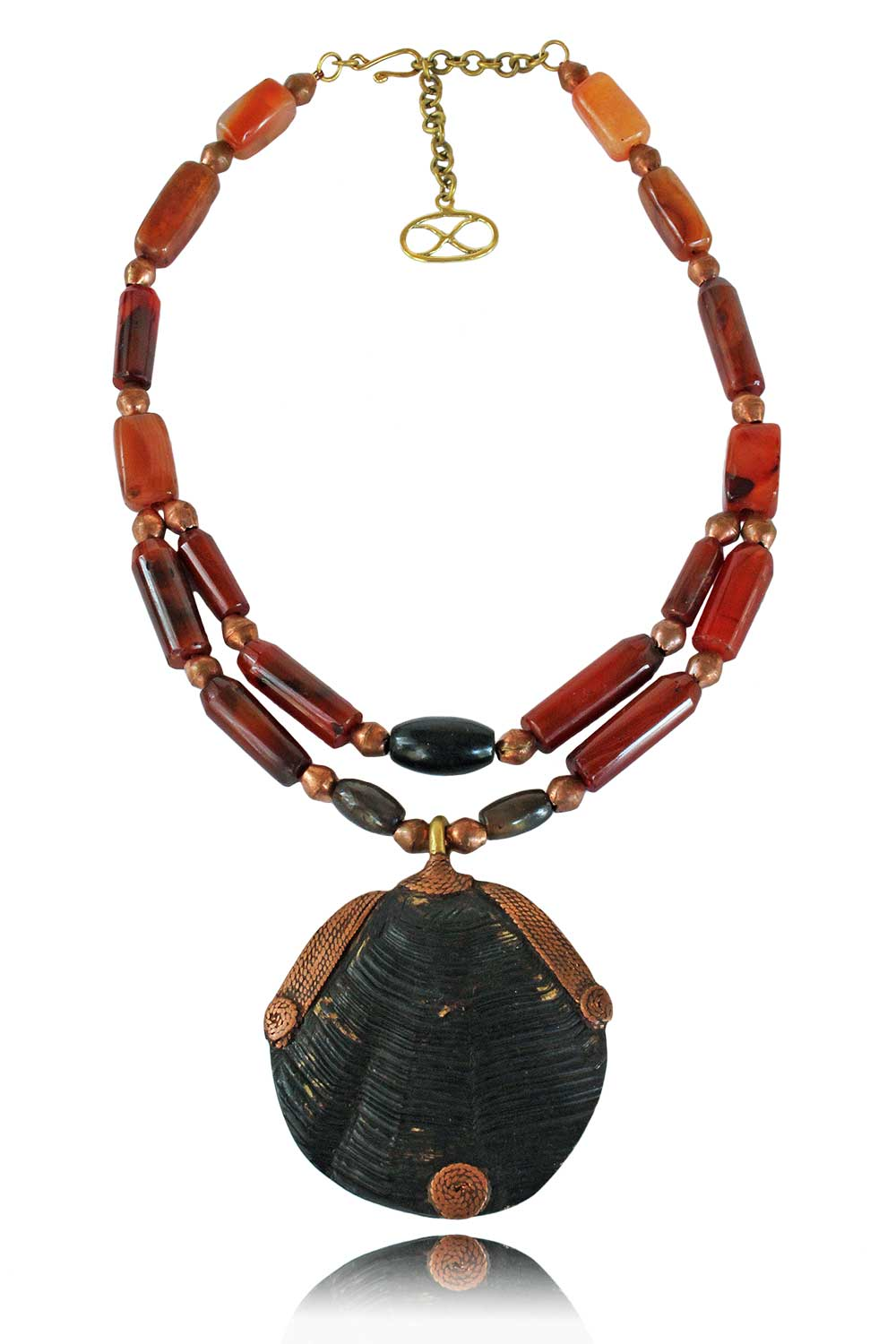 Izadi Tortoise Shell with Orange Agate Necklace by SHIKHAZURI