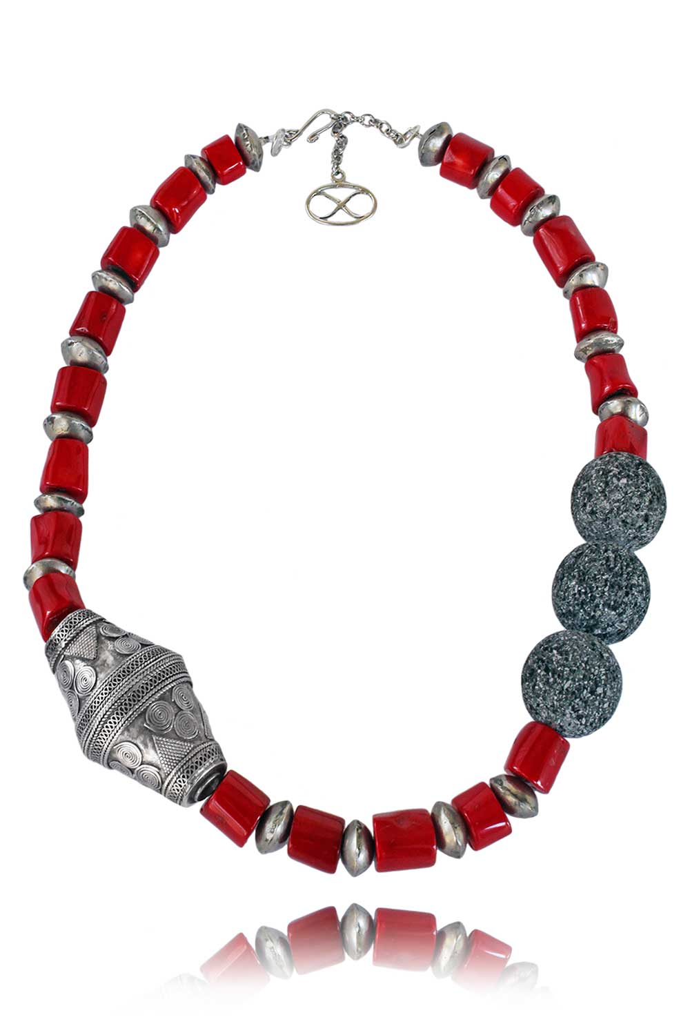 Omani Bead with Coral and Lava Necklace by SHIKHAZURI