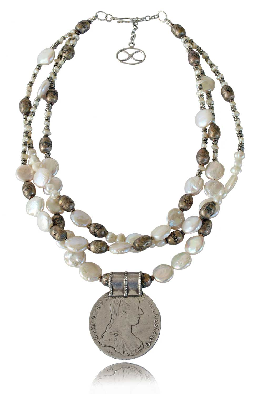 Lulu Maria Teresa Coin Pendant with Pearls Necklace by SHIKHAZURI