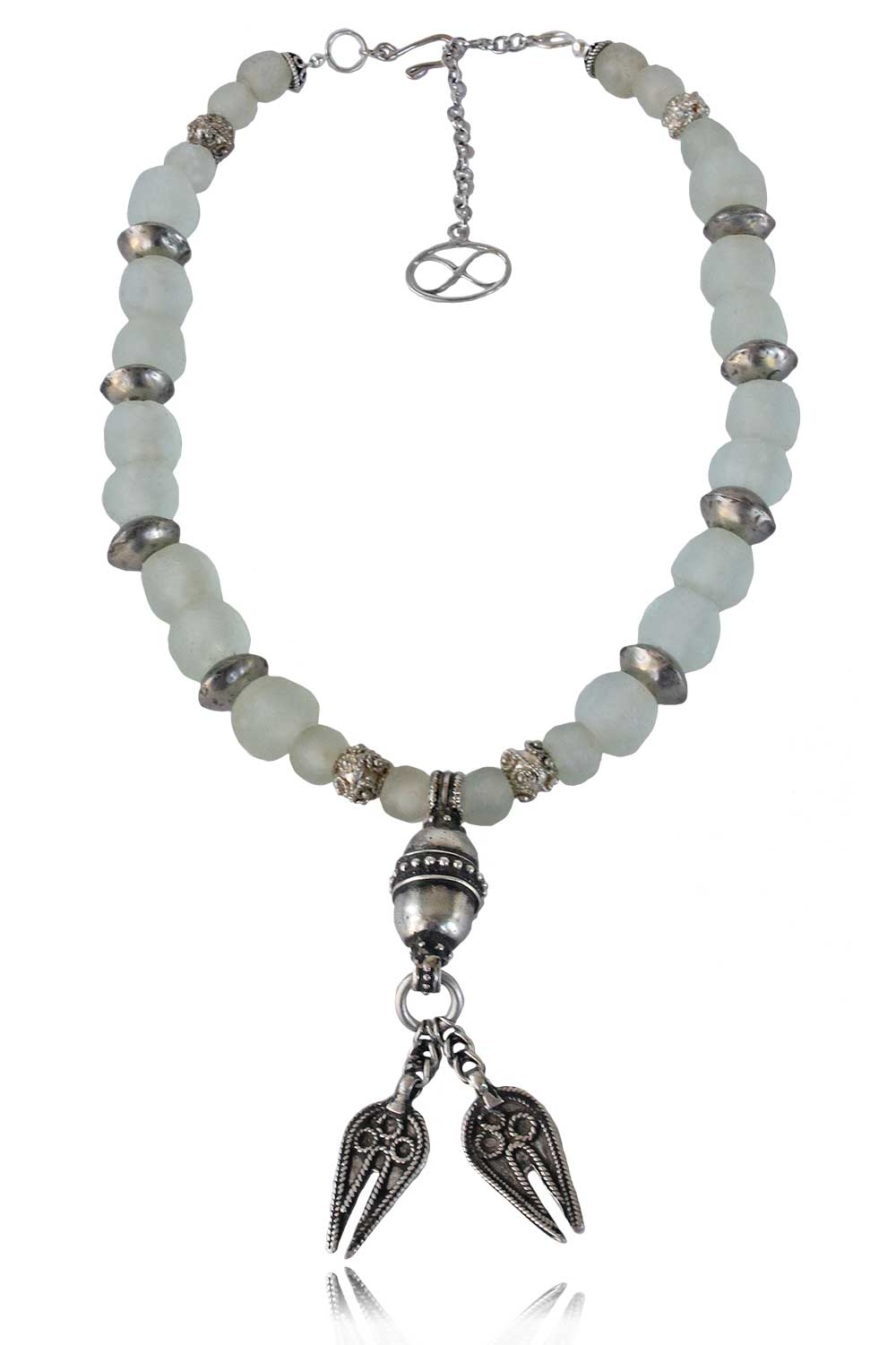 Nazli Necklace with Omani Silver and Ghana Glass beads by SHIKHAZURI