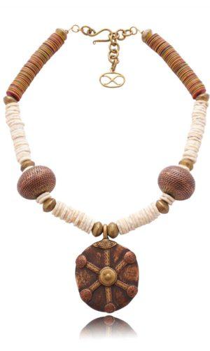 Ostrich Egg Shell Bead Necklace by SHIKHAZURI