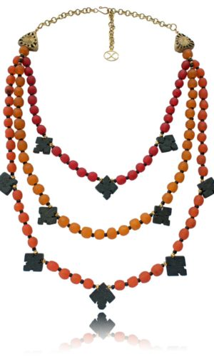 Multi-strand Ghana Glass and African Granite Cross Necklace by SHIKHAZURI