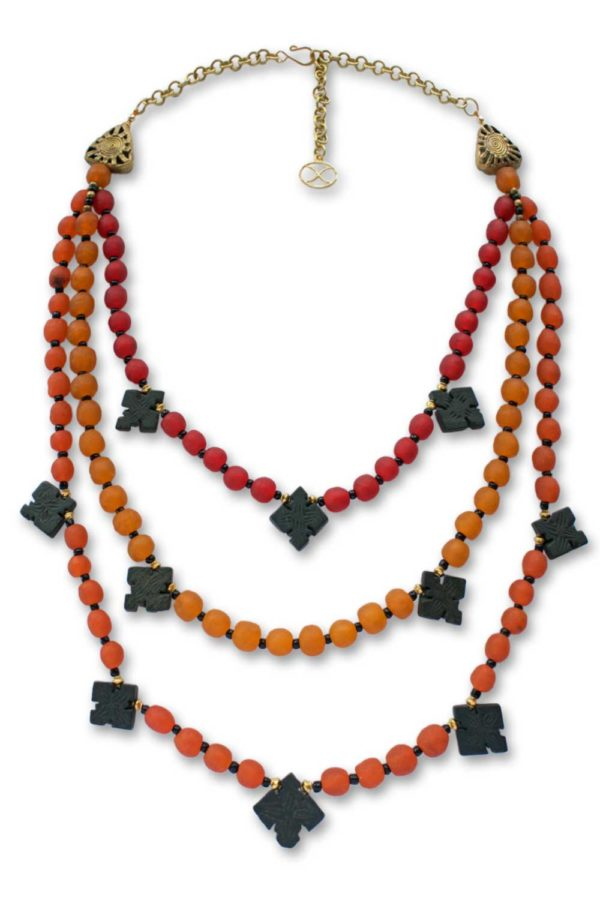 Autumn coloured recycled glass beads necklace by SHIKHAZURI