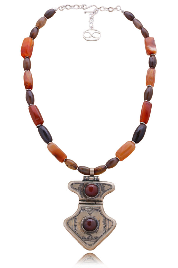 Statement Carnelian Tuareg Pendant Necklace by SHIKHAZURI