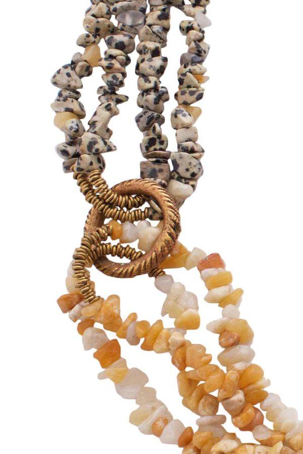 West African Brass Ring Linking Semi Precious Stones by SHIKHAZURI