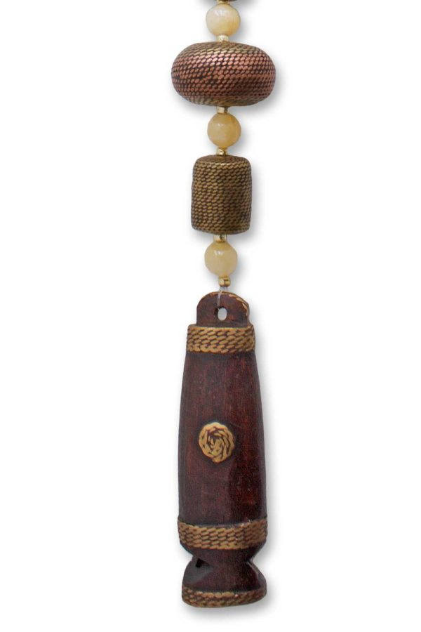 African Wood Carved Whistle Pendant by SHIKHAZURI
