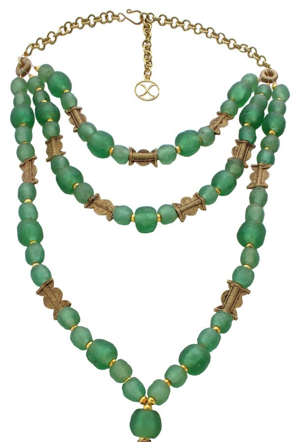 Triple Strand Green Recycled Glass Beads Necklace by SHIKHAZURI