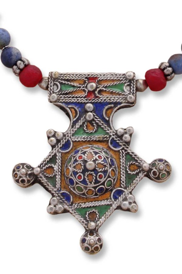 Berber Cross Enamel Statement Pendant by SHIKHAZURI