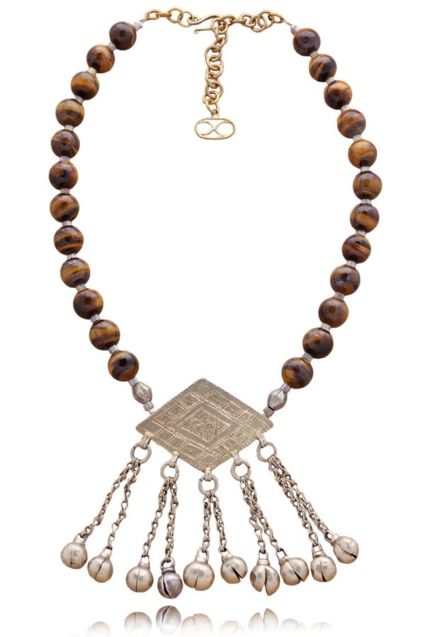 One of a kind tribal Tigers Eye Necklace by SHIKHAZURI