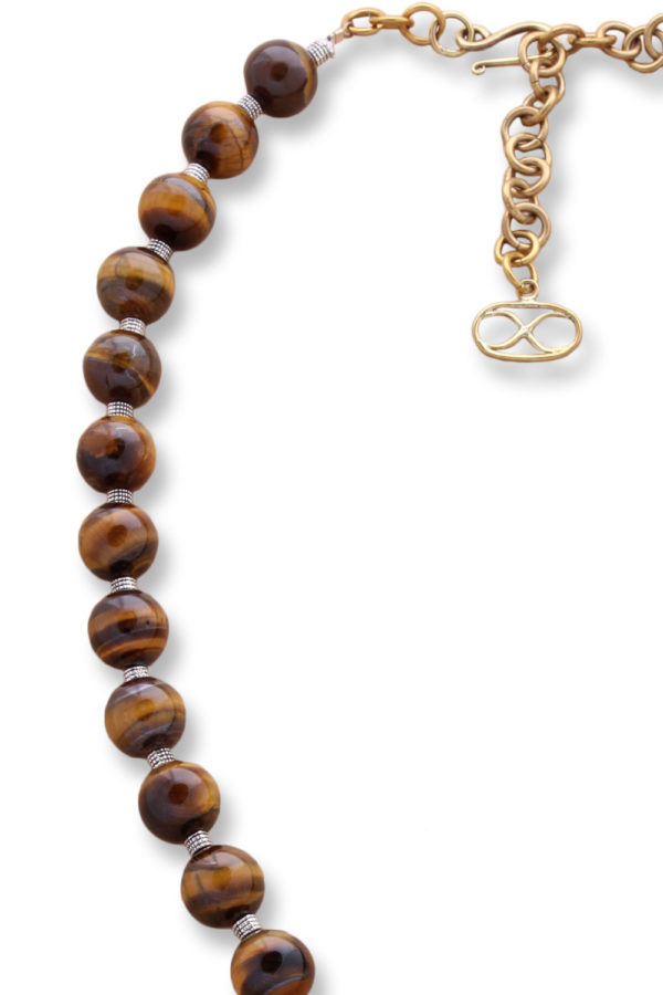 Large Tigers Eye Beads with Tibetan Silver Spacers by SHIKHAZURI