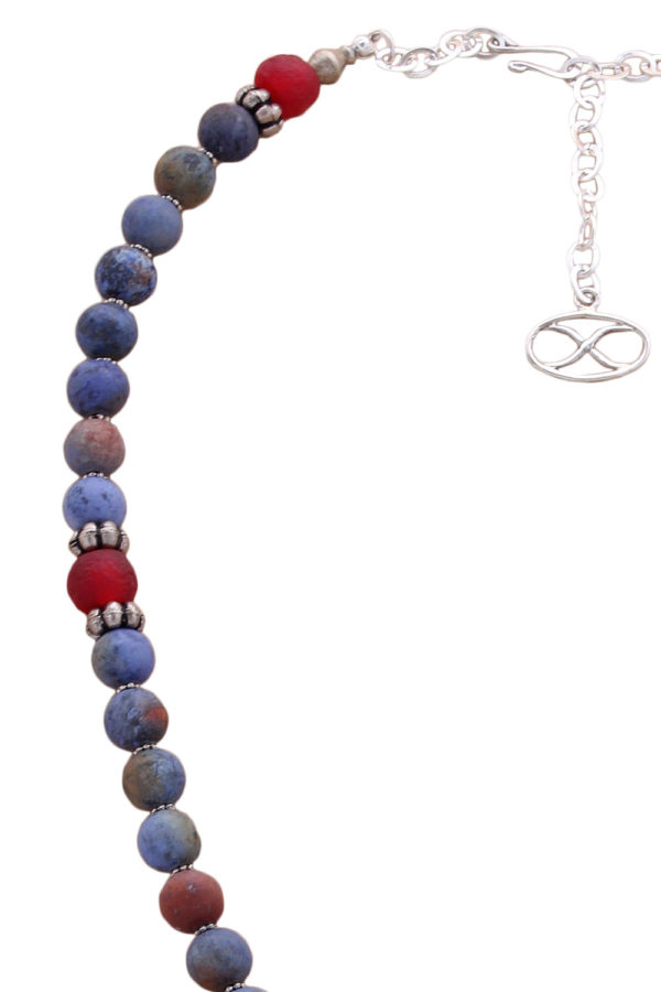 Sunset Dumortierite and Ghana Glass Bead Necklace by SHIKHAZURI