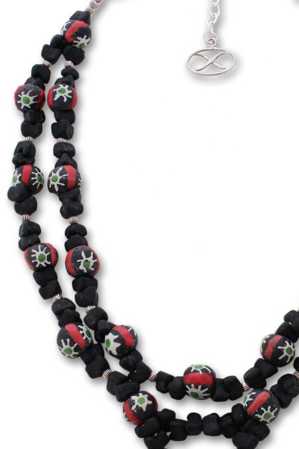 Double Strand West African Trade Beads Necklace by SHIKHAZURI