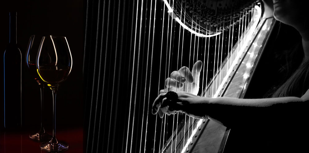 Valentines harp and wine
