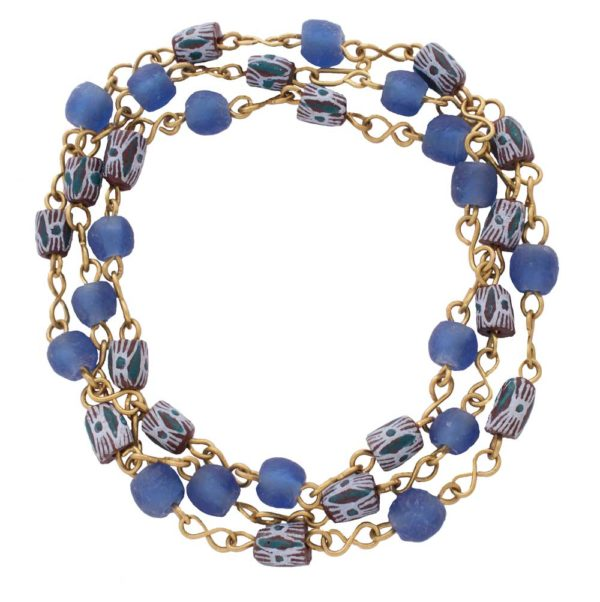 Blue trade beads necklace bracelet by SHIKHAZURI