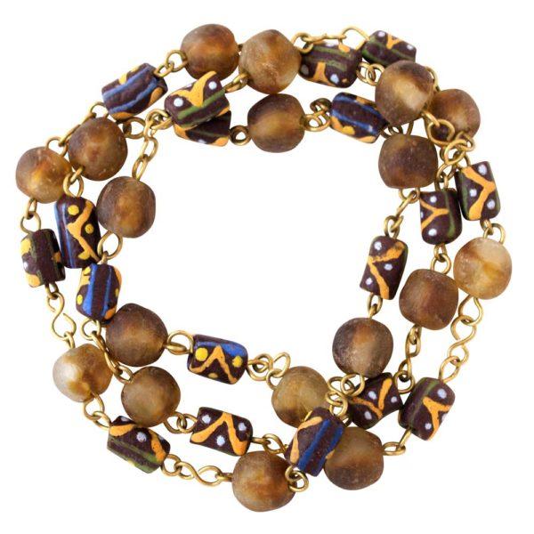 Brown Trade Beads Necklace Bracelet by SHIKHAZURI