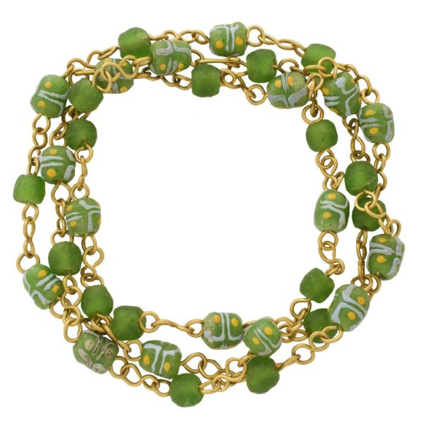 Green trade beads necklace bracelet by SHIKHAZURI