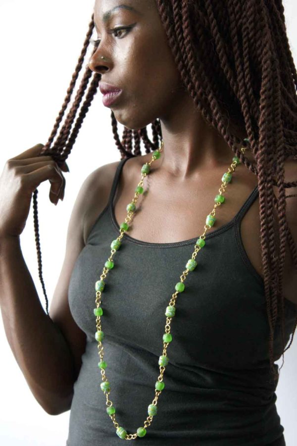 Green Trade Beads Necklace on Model by SHIKHAZURI