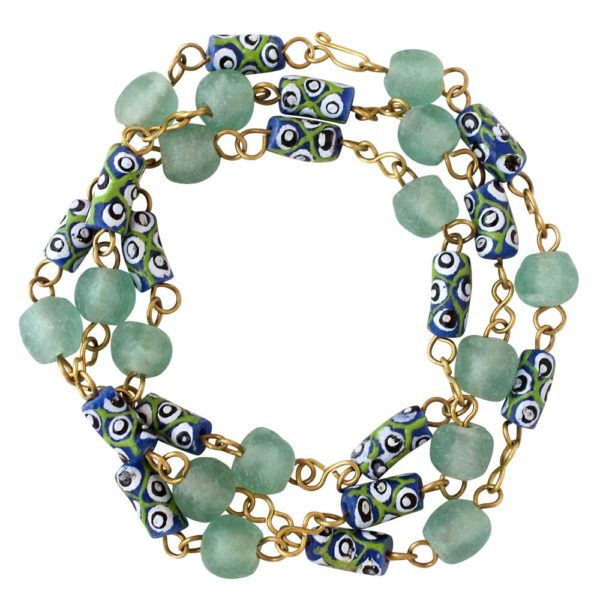 Light Blue Trade Beads Necklace Bracelet by SHIKHAZURI
