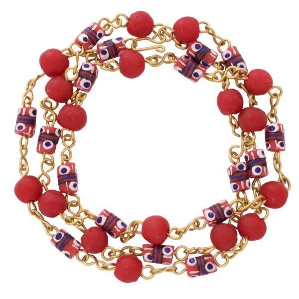 Red trade bead necklace bracelet by SHIKHAZURI