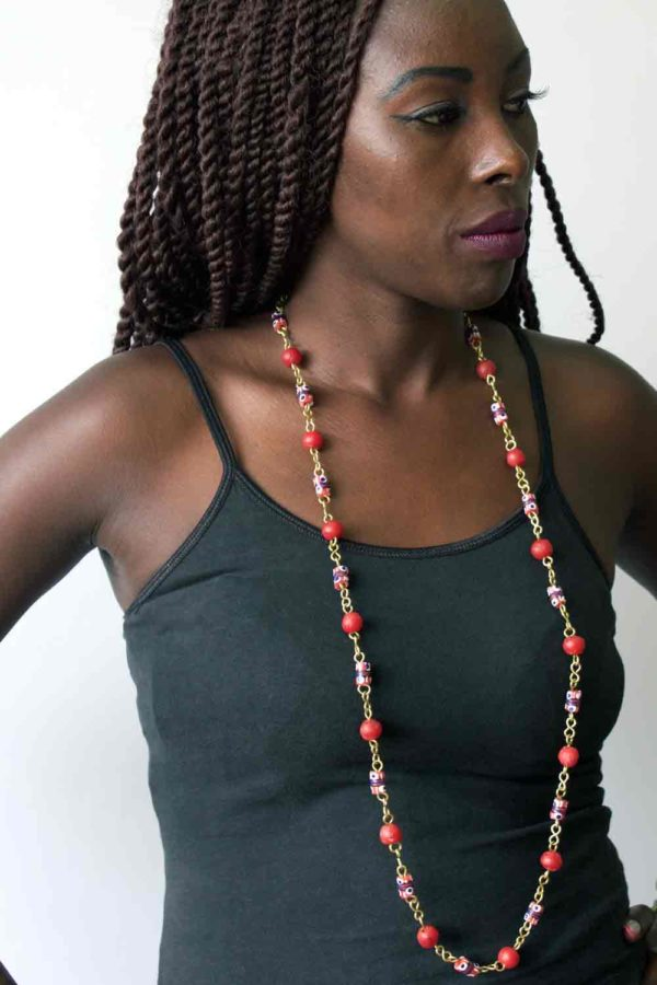 Red trade beads necklace model by SHIKHAZURI
