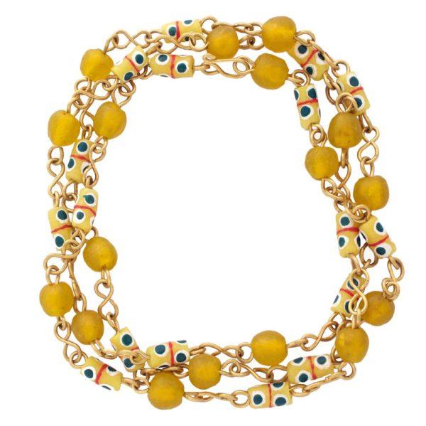Yellow trade beads necklace bracelet by SHIKHAZURI