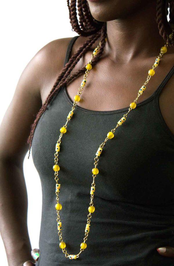 Yellow trade beads necklace model by SHIKHAZURI