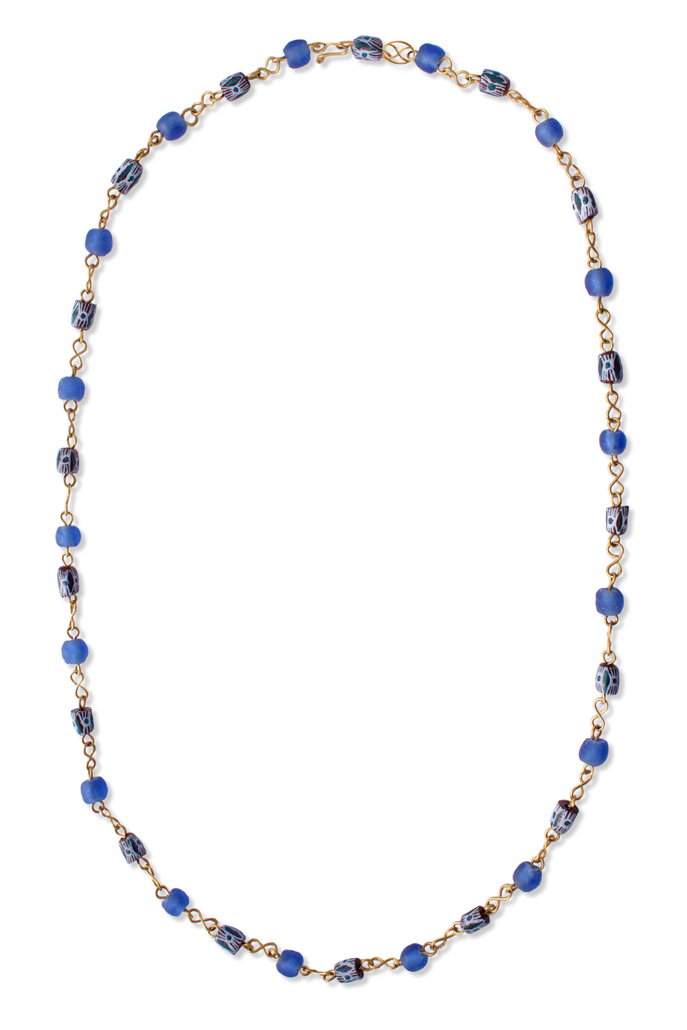 Blue African Trade Beads Necklace by SHIKHAZURI