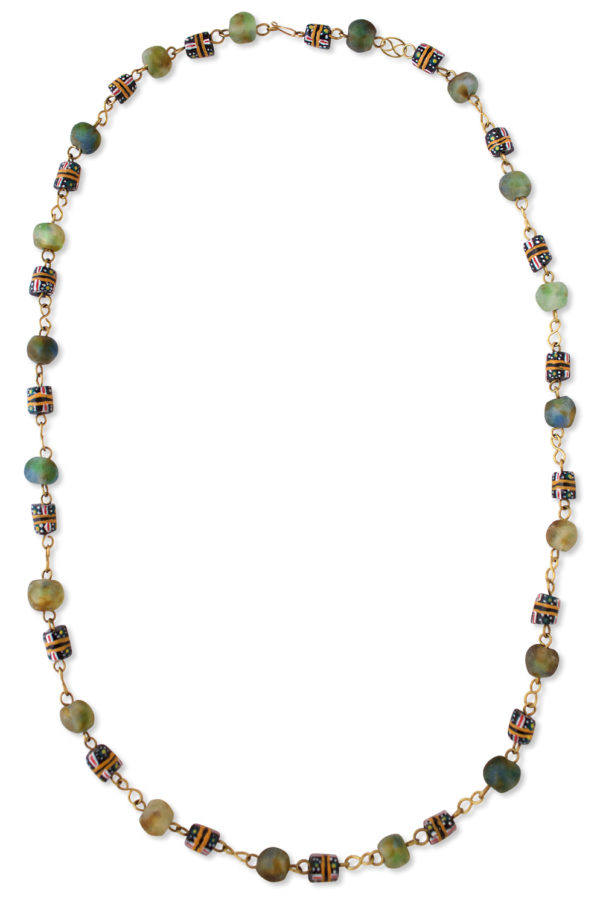 Blue Green African Trade Beads Necklace by SHIKHAZURI