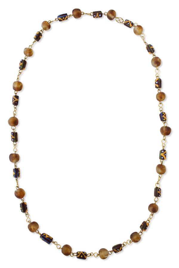 Yellow Brown African Trade Beads Necklace by SHIKHAZURI
