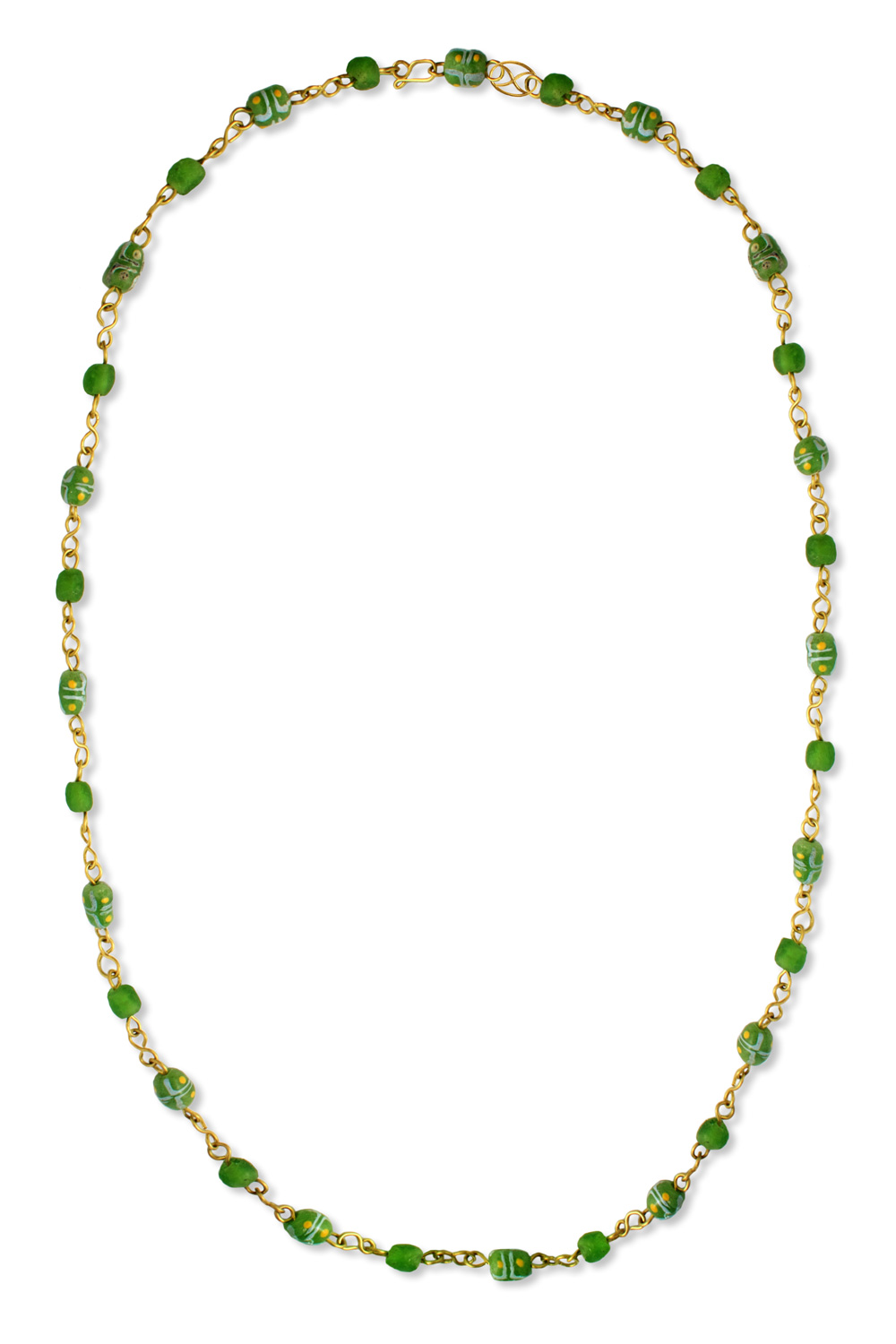 Green African Trade Beads Necklace by SHIKHAZURI