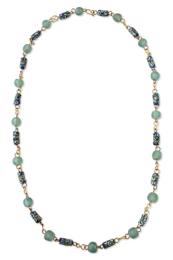 Light Blue African Trade Beads Necklace by SHIKHAZURI