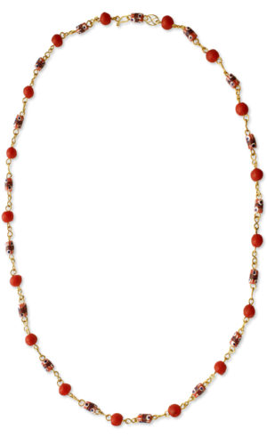 Red African Trade Beads Necklace by SHIKHAZURI