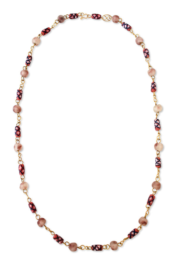 Red Pink African Trade Beads Necklace by SHIKHAZURI